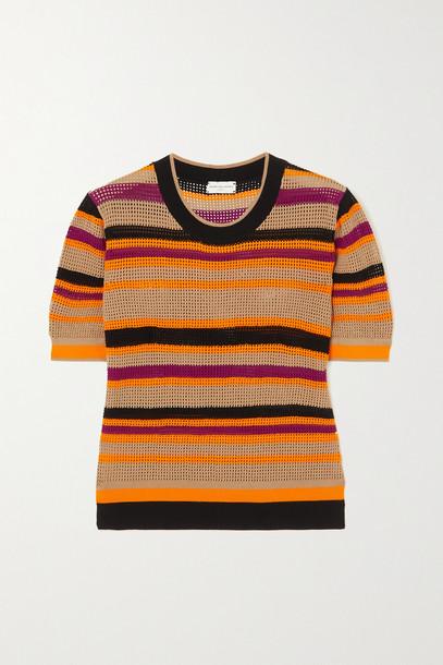DRIES VAN NOTEN - Striped Mesh T-shirt - Orange
