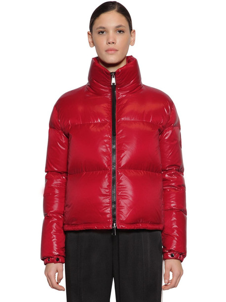 MONCLER Rimac Nylon Laqué Down Jacket in red