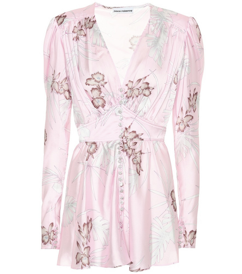 Paco Rabanne Embellished floral satin top in pink