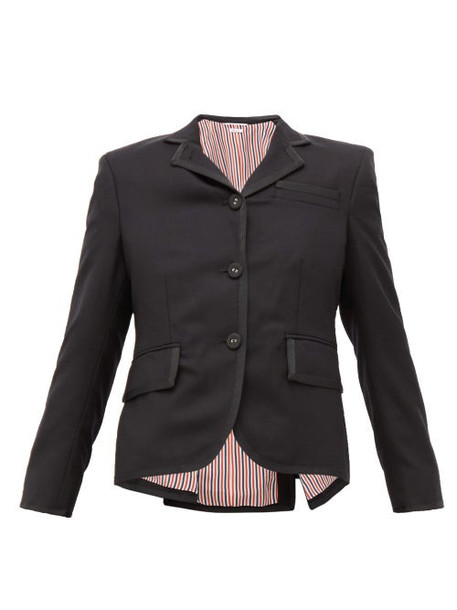 Thom Browne - Little Boy Grosgrain Trim Wool Twill Jacket - Womens - Black