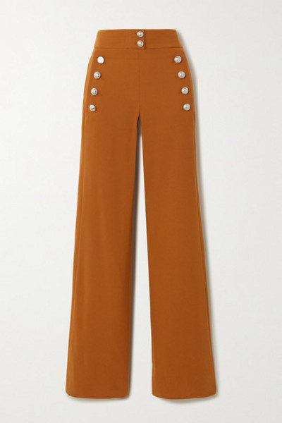 Chloé Chloé - Button-embellished Stretch-wool Wide-leg Pants - Brown