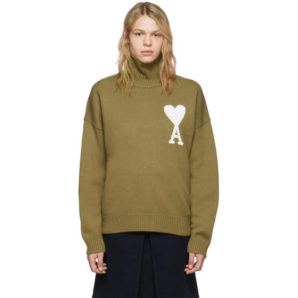 AMI Alexandre Mattiussi Beige Oversized Ami De Coeur Sweater