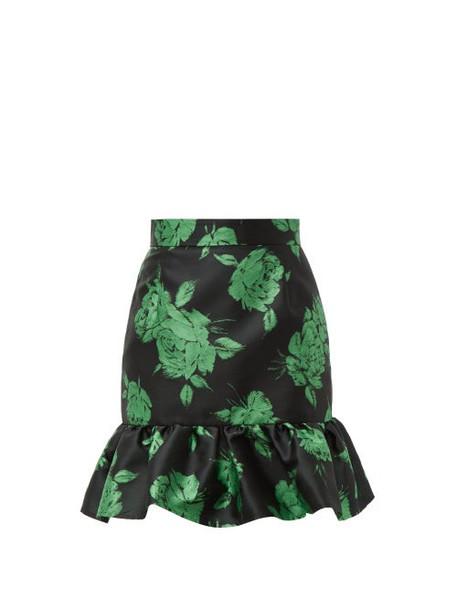 Msgm - Floral Jacquard Ruffle Hem Mini Skirt - Womens - Black Multi
