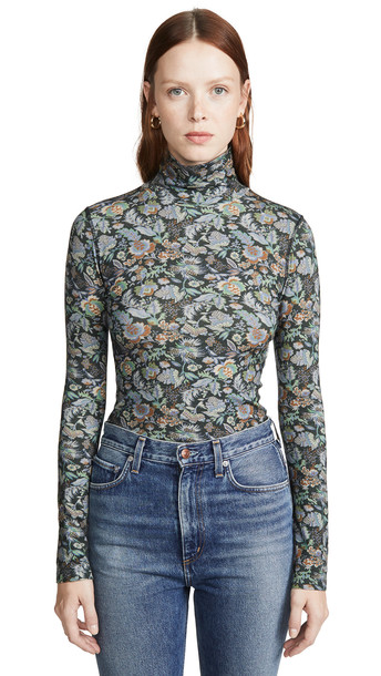 See by Chloe Floral Turtleneck Top in green