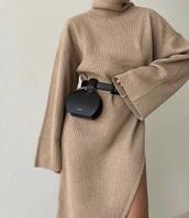 dress,beige dress,turtleneck,long dress,warm