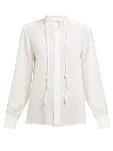 Chloé Chloé - Twisted Drawcord Silk Crepe De Chine Blouse - Womens - Ivory