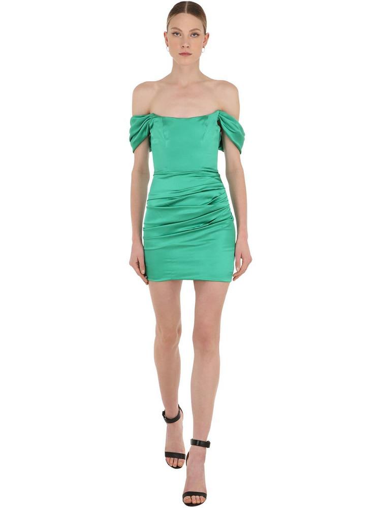 DE LA VALI Off-the-shoulder Satin Mini Dress in green