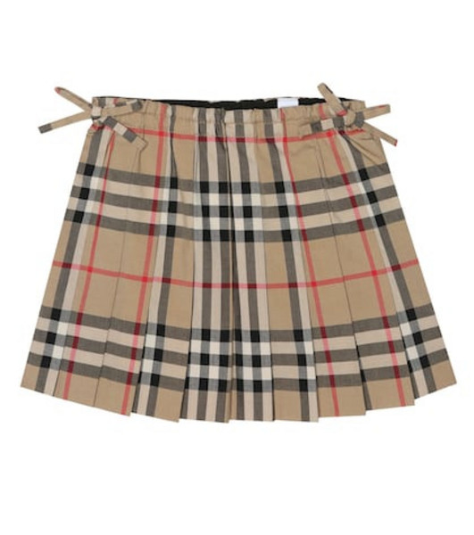 Burberry Kids Check cotton skirt in beige