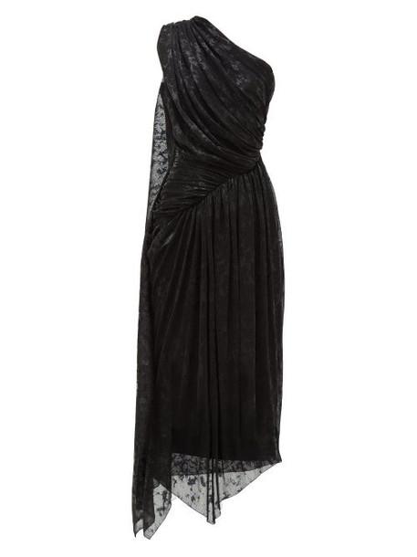 Halpern - One Shoulder Devoré Lamé Dress - Womens - Black