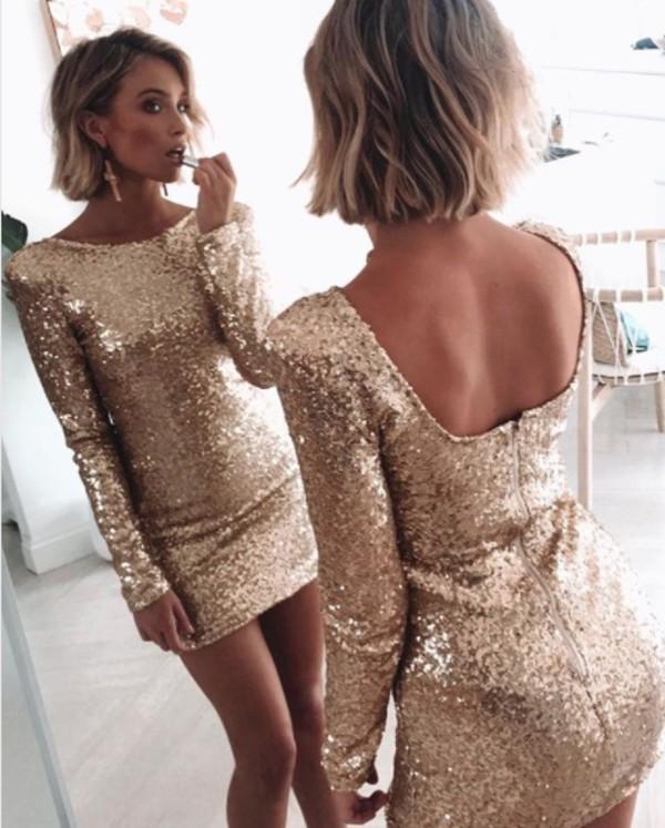dress gold sparkle sequins party dress cocktail dress mini dress