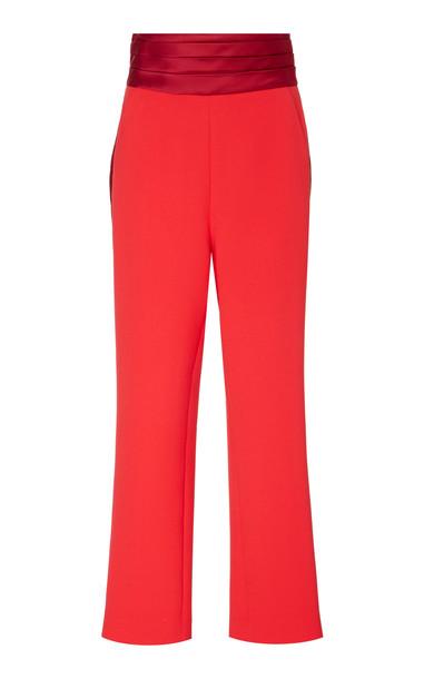 Prabal Gurung Cummerbund Straight Leg Trousers in red