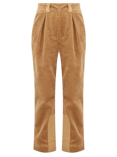 Ganni - Cotton Corduroy Straight Leg Trousers - Womens - Camel