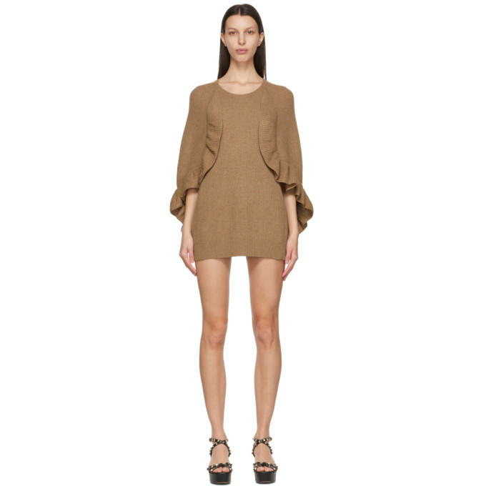RED Valentino Tan Cape Sleeve Dress in camel