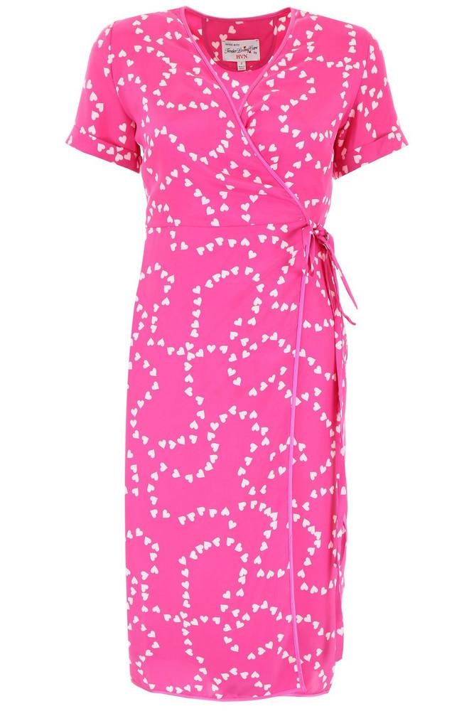 HVN Heart-printed Vera Dress in pink / fuchsia