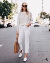 jeans,white jeans,cropped jeans,white shoes,loafers,brown bag,white sweater