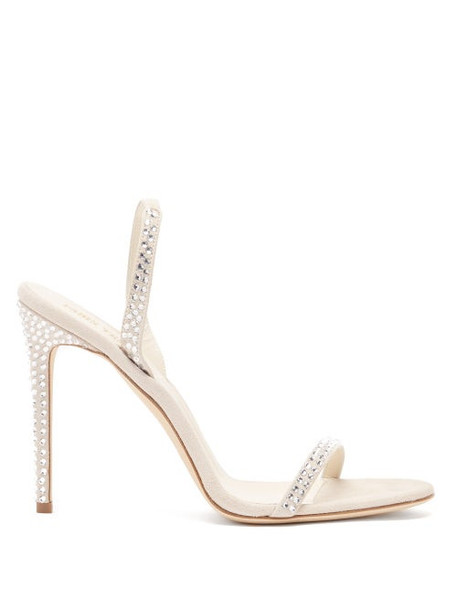 Paris Texas - Holly Crystal-embellished Suede Sandals - Womens - White Silver