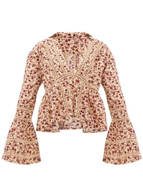 Dodo Bar Or - Enid Floral Print Crochet Insert Cotton Shirt - Womens - Cream Print