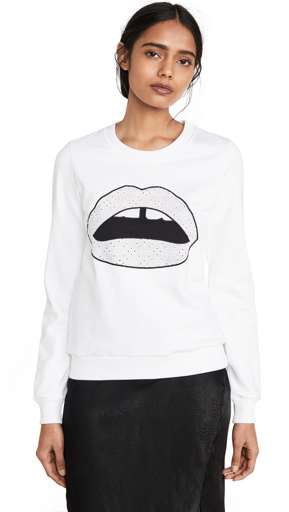 Markus Lupfer Leonie Broderie Anglaise Iconic Lip Sweatshirt in white