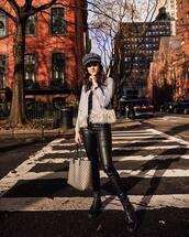 coat,grey coat,faux fur,suede,black boots,leather pants,black pants,gucci bag,black top,beret
