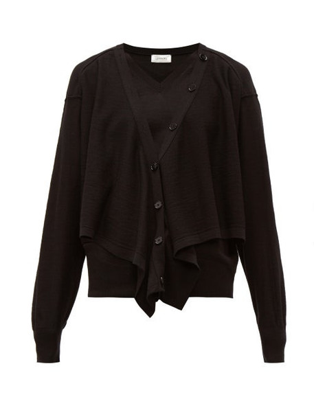 Lemaire - Button Front Merino Wool Blend Sweater - Womens - Black