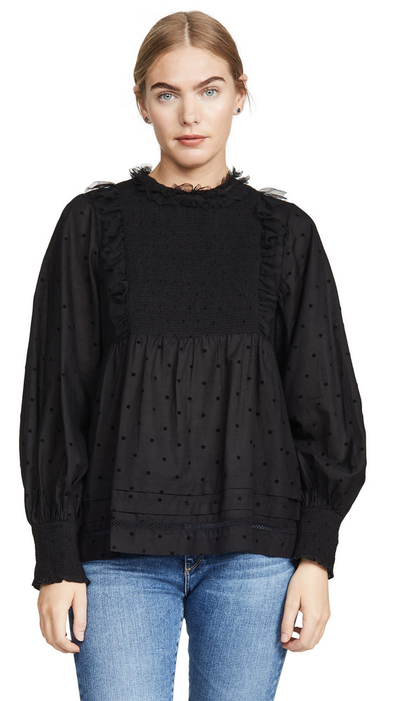 THE GREAT. THE GREAT. The Portrait Top in black