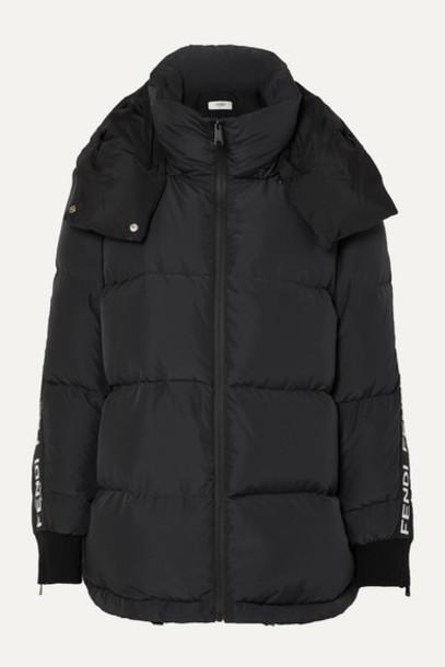 Fendi - Jacquard-trimmed Quilted Down Ski Jacket - Black