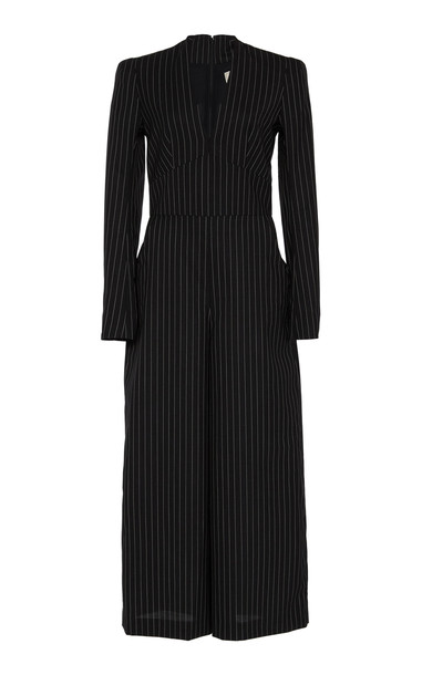 Temperley London Rayleigh Pinstriped Cropped Crepe Jumpsuit in black / white