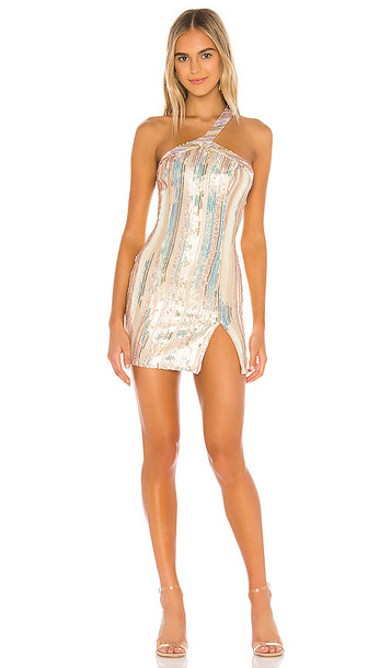 superdown Cicely Mini Dress in Metallic Neutral