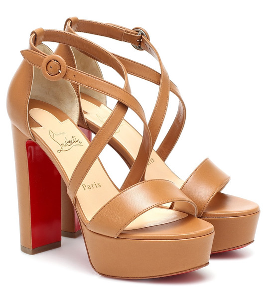 Christian Louboutin Loubi Bee Alta leather platform sandals in brown