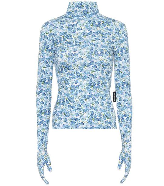 Vetements Floral turtleneck top in blue