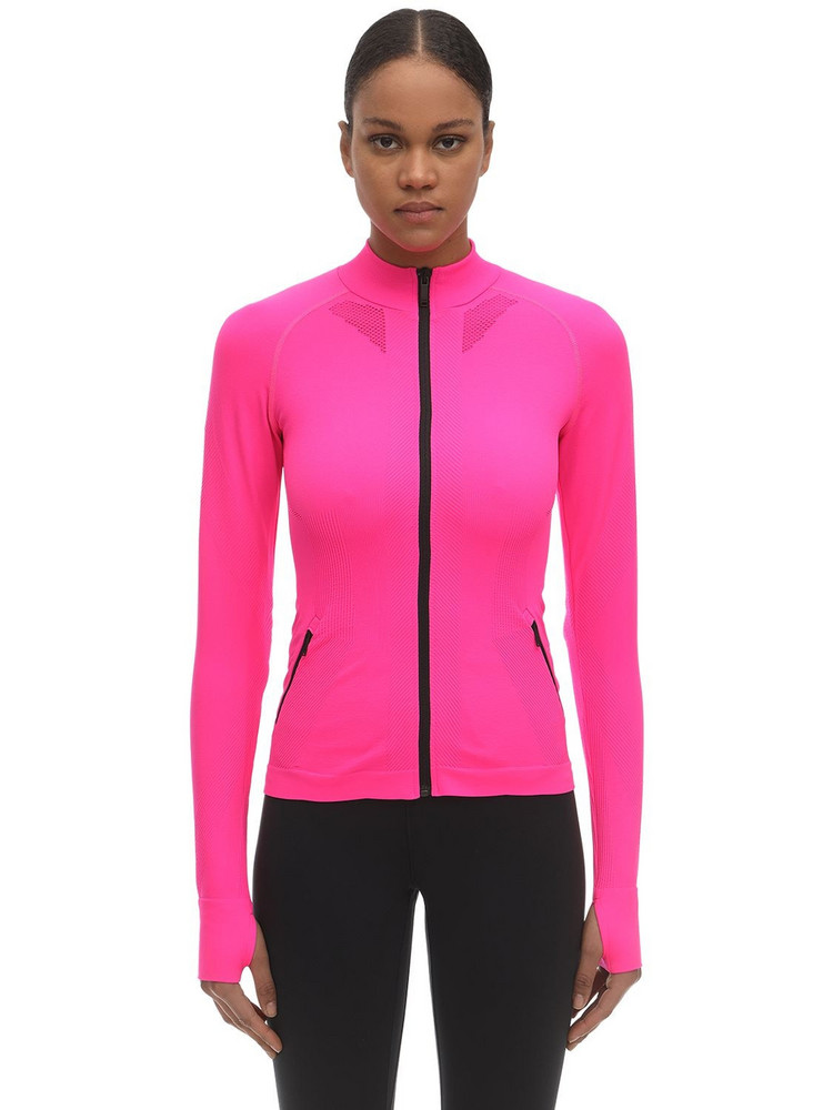 KARL LAGERFELD Rue St Guillaume L/s Stretch Jersey Top in fuchsia