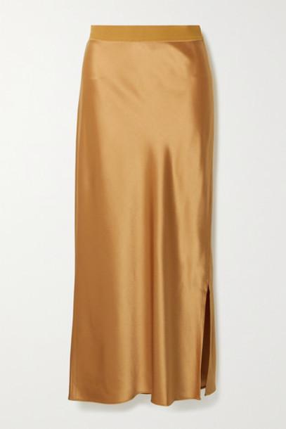 Theory - Satin Midi Skirt - Camel