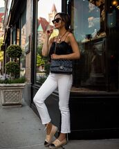 top,black top,white jeans,skinny jeans,chanel,espadrilles,black bag,chanel bag