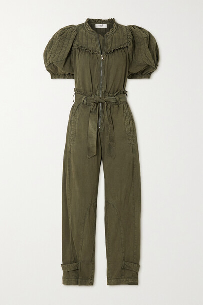 Sea - Layla Belted Quilted Cotton Jumpsuit - Green