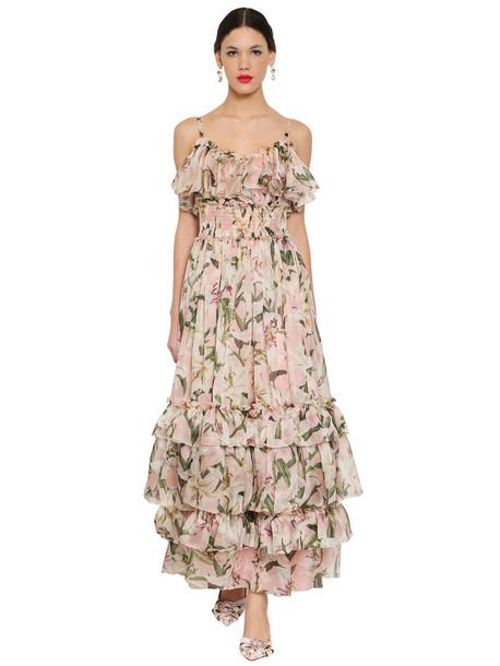 DOLCE & GABBANA Floral Printed Silk Organza Long Dress in pink / multi