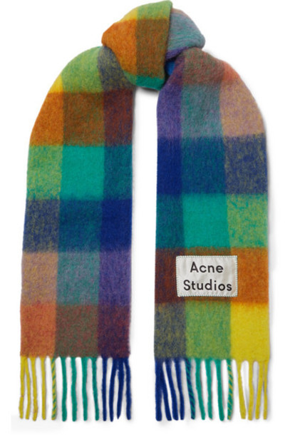 Acne Studios - Valley Checked Fringed Knitted Scarf - Blue