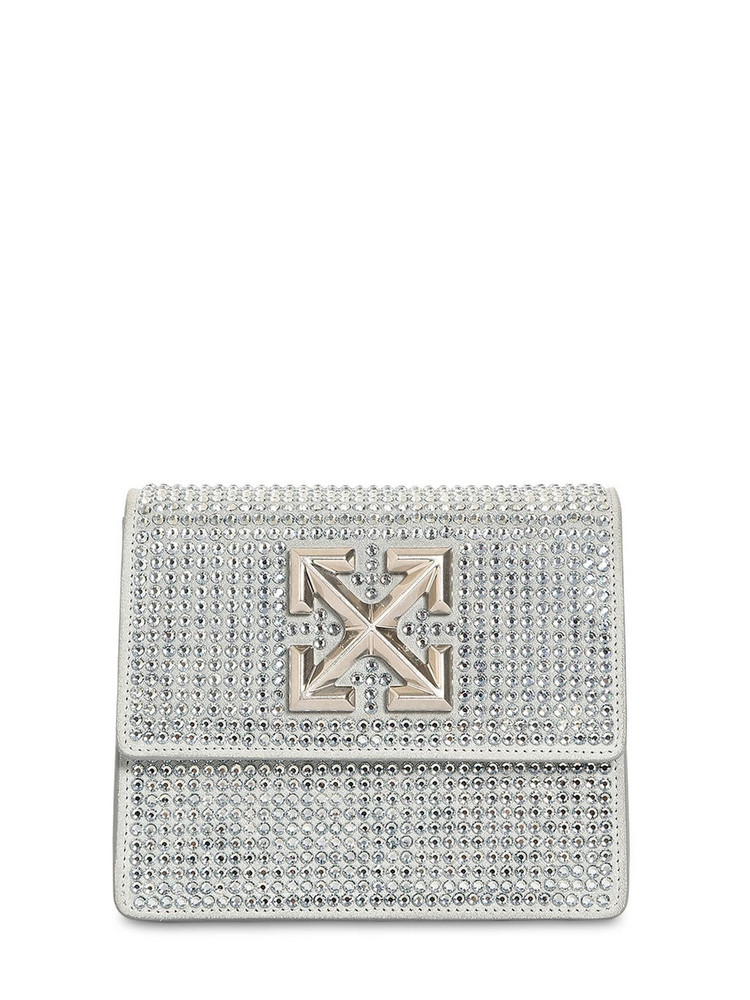 OFF-WHITE Jitney 0.7 Crystal Clutch in silver