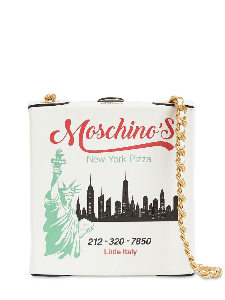 MOSCHINO Mini Pizza Box Leather Shoulder Bag in white