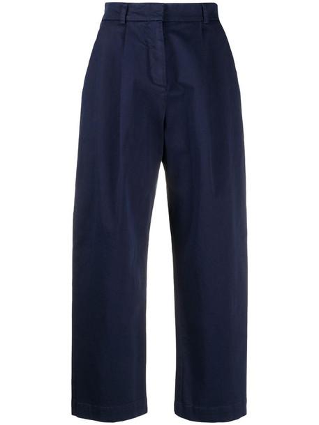 YMC pleated crop trousers in blue