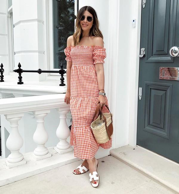 dress maxi dress off the shoulder plaid dress slide shoes tote bag