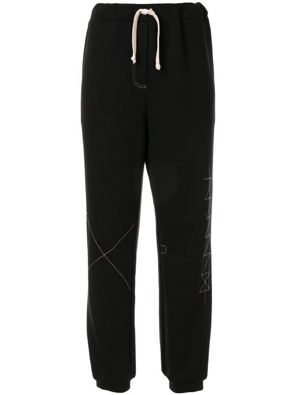 Ruban drawstring jersey trousers in black