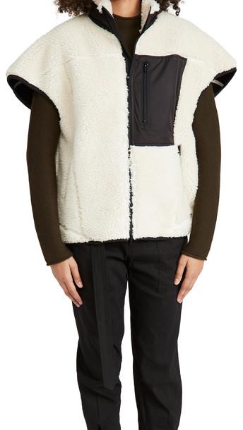 3.1 Phillip Lim Sherpa Bonded Cocoon-Back Vest in ivory