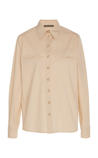 Alberta Ferretti Cotton-Stretch Blouse in neutral