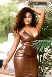 dress,scorpionthecollection,leather,brown,midi dress,bodycon dress,bodycon