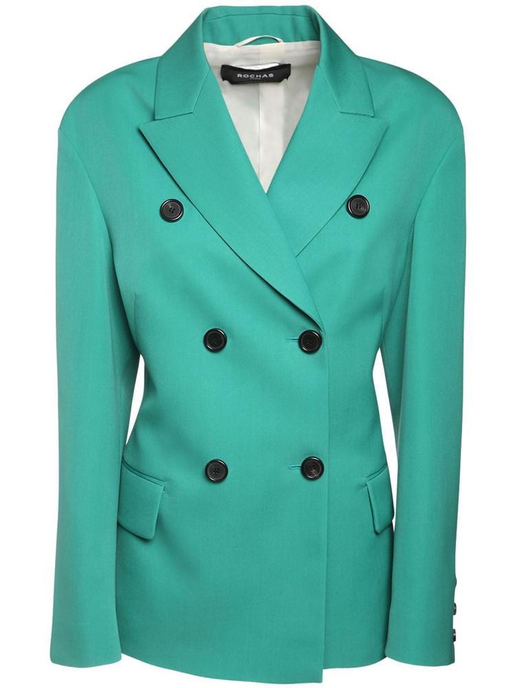 ROCHAS Wool Gabardine Double Breast Jacket in emerald