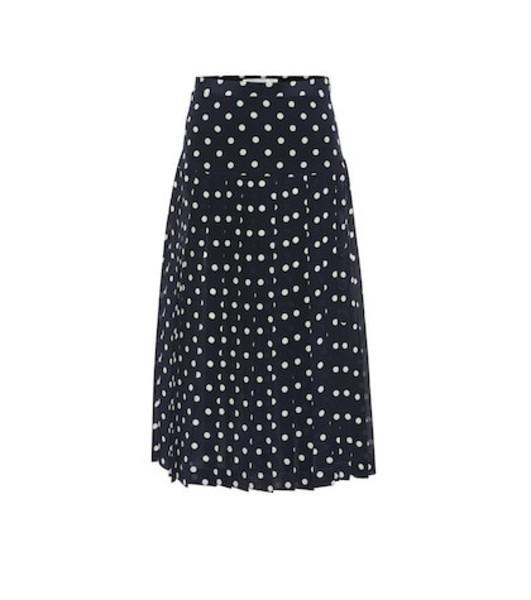 Alessandra Rich Polka-dot pleated silk midi skirt in blue