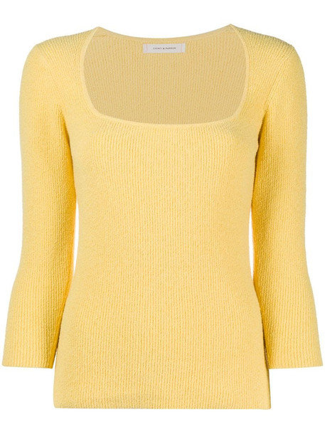 Chinti and Parker square neck ribbed knitted top in yellow