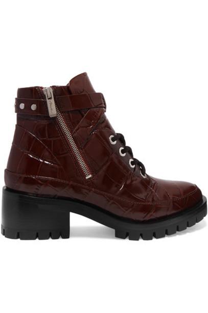 3.1 Phillip Lim - Hayett Croc-effect Leather Ankle Boots - Burgundy