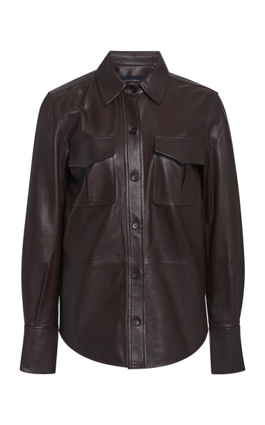 Equipment Garcella Leather Shirt Size: XS in brown
