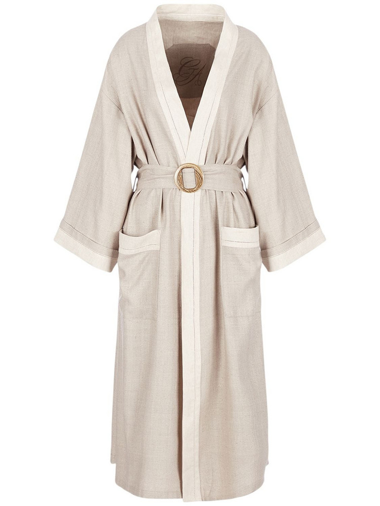 GIORGIO ARMANI Silk Canvas Trench Coat in beige